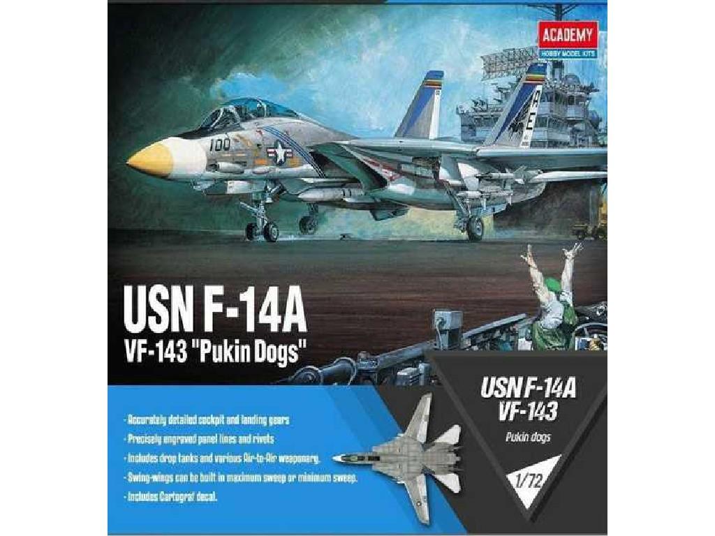 1/72 Plastikový model - letadlo 12563 - USN F-14A VF-143 Pukin Dogs