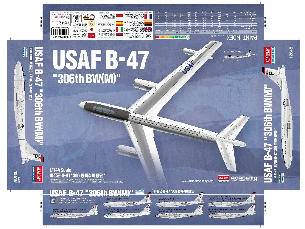1/144 Plastikový model - letadlo 12618 - USAF B-47
