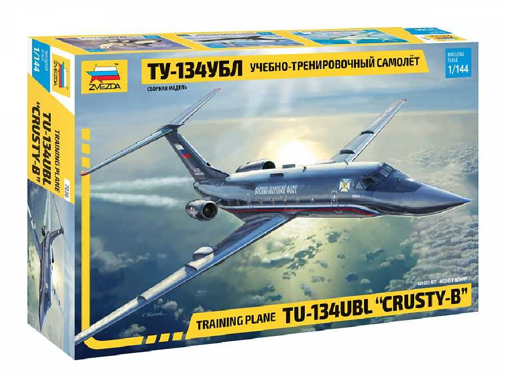 1/144 Model Kit letadlo 7036 - Training plane TU-134UBL and CRUSTY-Band