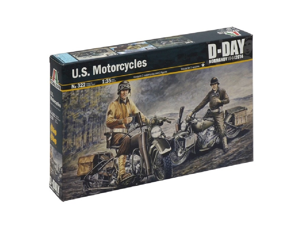 1/35 Plastikový model - military 0322 - U.S. MOTORCYCLES WW2