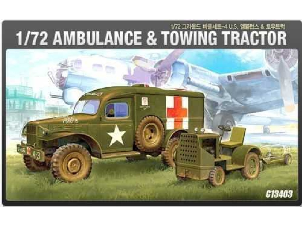1/72 Plastikový model - military 13403 - US AMBULANCE and TRACTOR