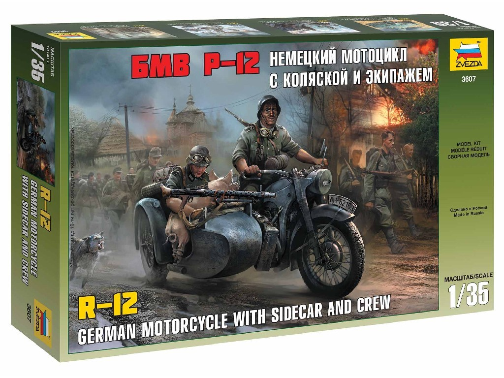 1/35 Plastikový model - military 3607 - German WWII Sidecar R12 with crew