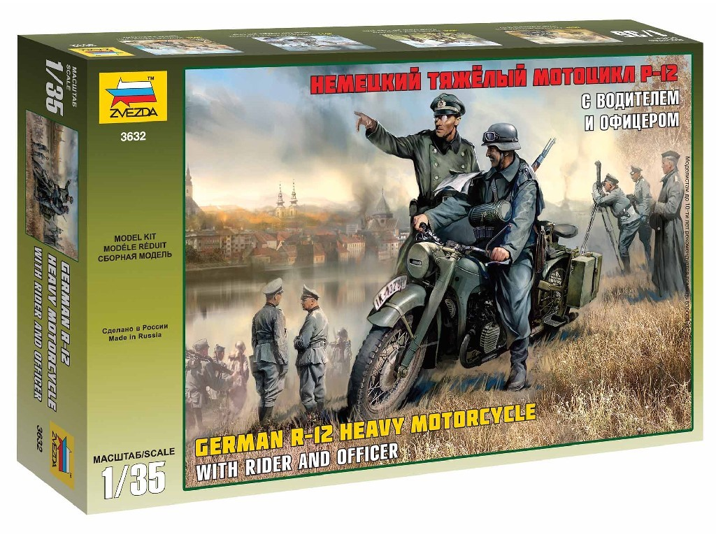 1/35 Plastikový model - military 3632 - German R-12 Heavy Motorcycle with Rider