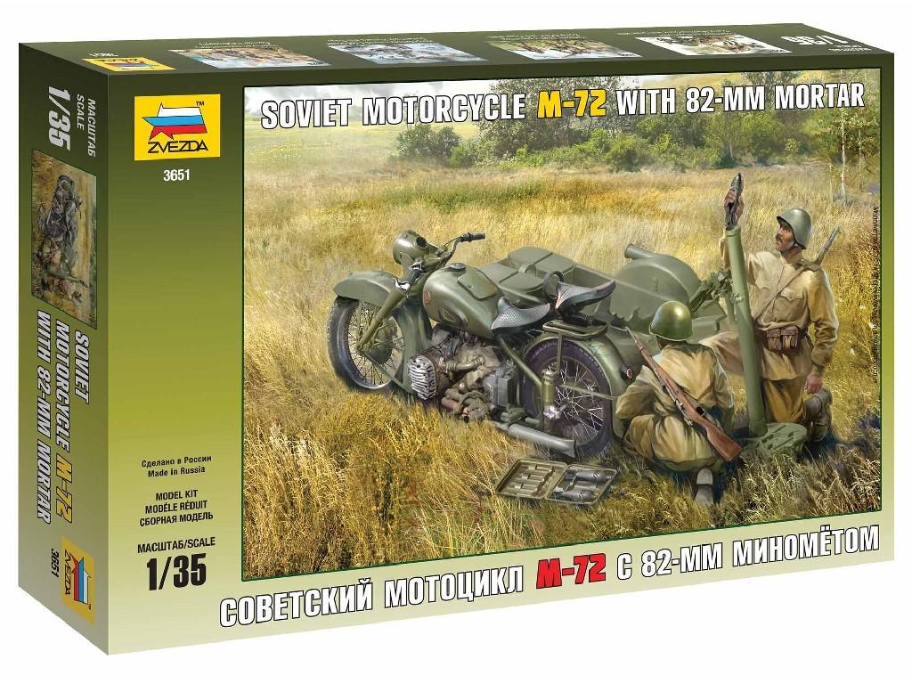 Zvezda - 3651 - Soviet Motorcycle M-72 with Mortar 1:35