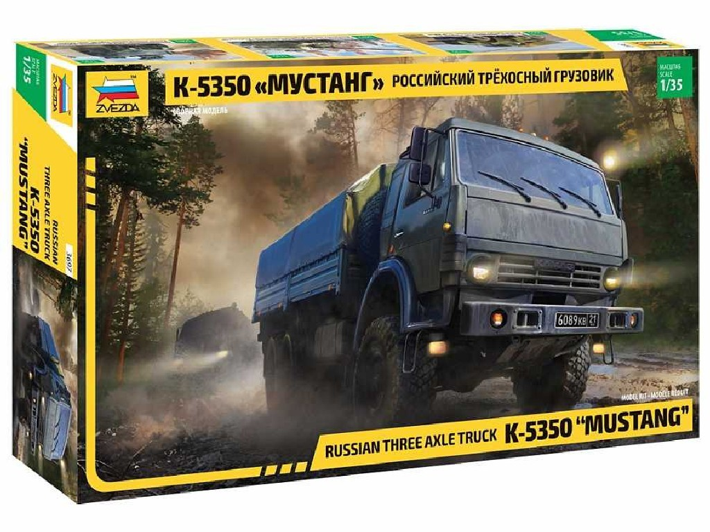1/35 Plastikový model - military 3697 - Russian three axle truck K-5350 MUSTANG