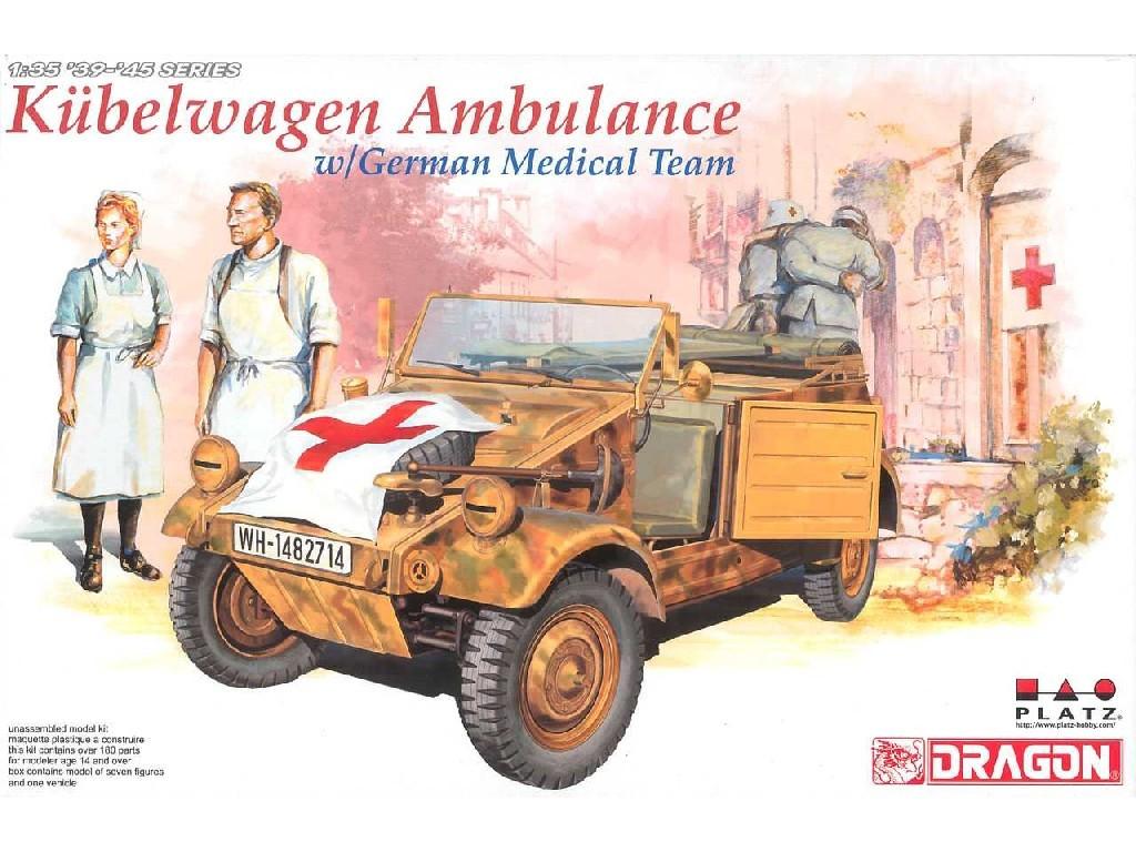 1/35 Plastikový model - military 6336 - KUEBELWAGEN AMBULANCE w/ GERMAN MEDICAL TEAM