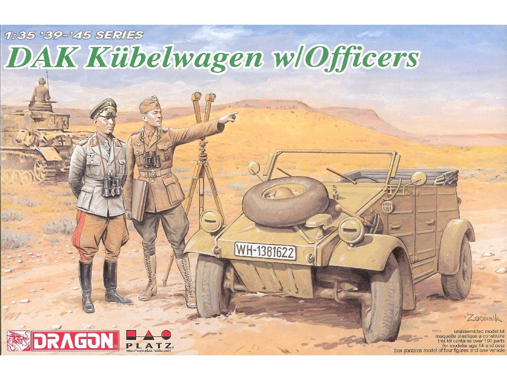 1/35 Plastikový model - military 6364 - DAK KÜBELWAGEN W/OFFICERS