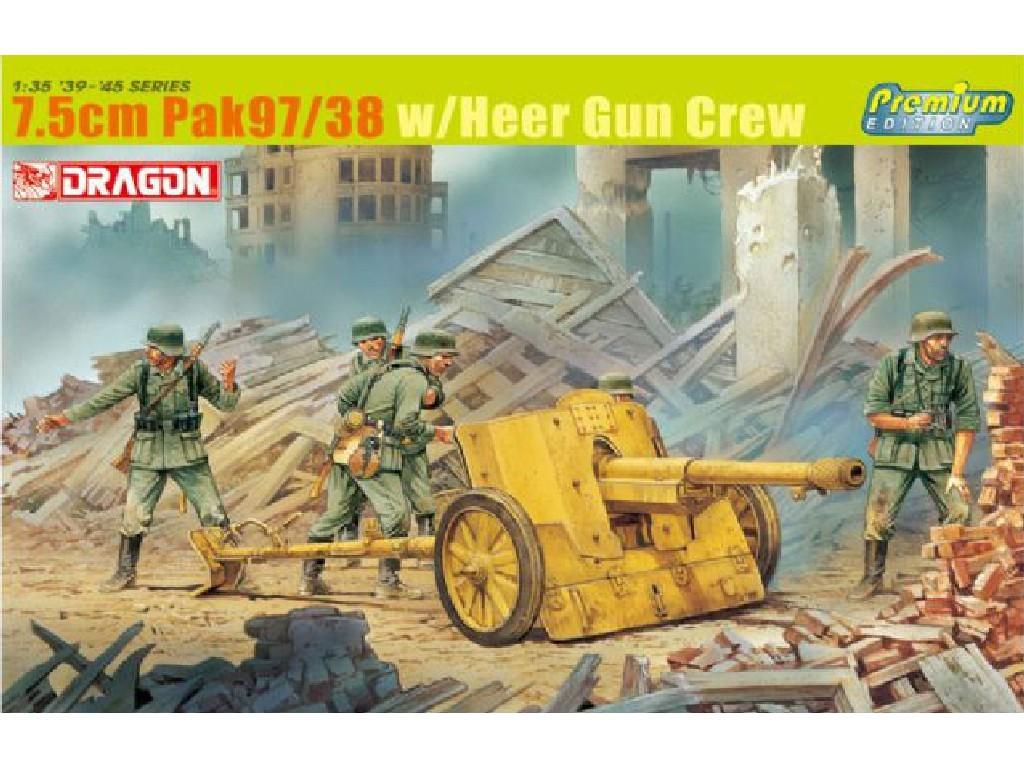 1/35 Plastikový model - military 6443 - 7.5CM PAK 97/38 W/HEER GUN CREW