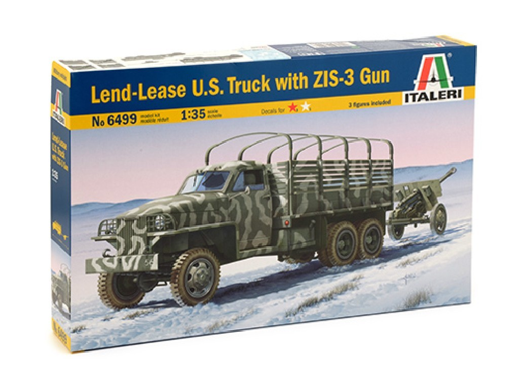1/35 Plastikový model - military 6499 - LAND LEASE U.S. TRUCK and ZIS-3 GUN