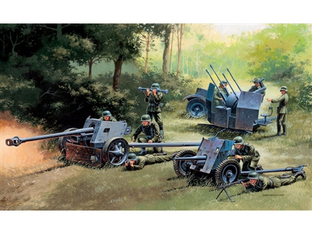 1/72 Plastikový model - military 7026 - GERMAN GUNS SET: PAK35-PAK40-FLAK38