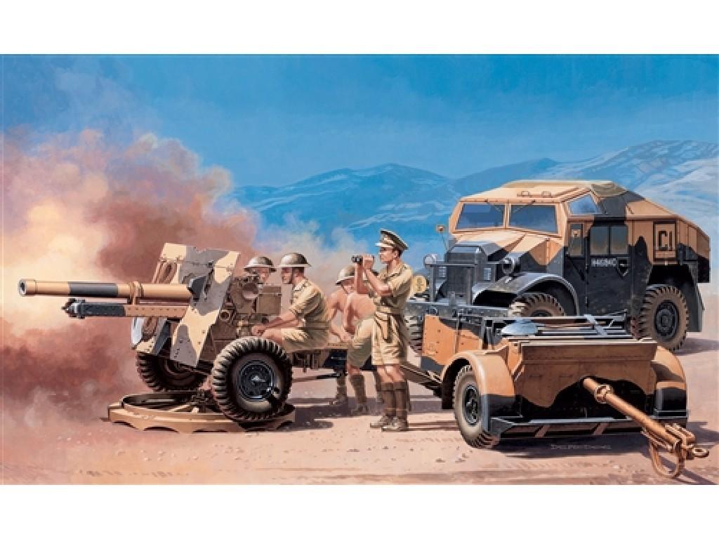 1/72 Plastikový model - military 7027 - MORRIS QUAD TRACTOR. /25 PDR. GUN