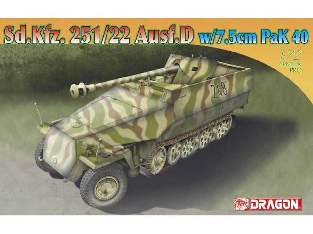 1/72 Plastikový model - military 7351 - Sd.Kfz.251/22 Ausf.D w/7.5cm PaK 40