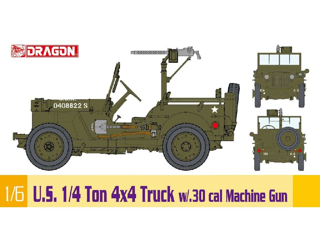 1/6 Plastikový model - military 75050 - 1/6 U.S. 1/4 Ton 4x4 Truck w/.30 cal Machine Gun