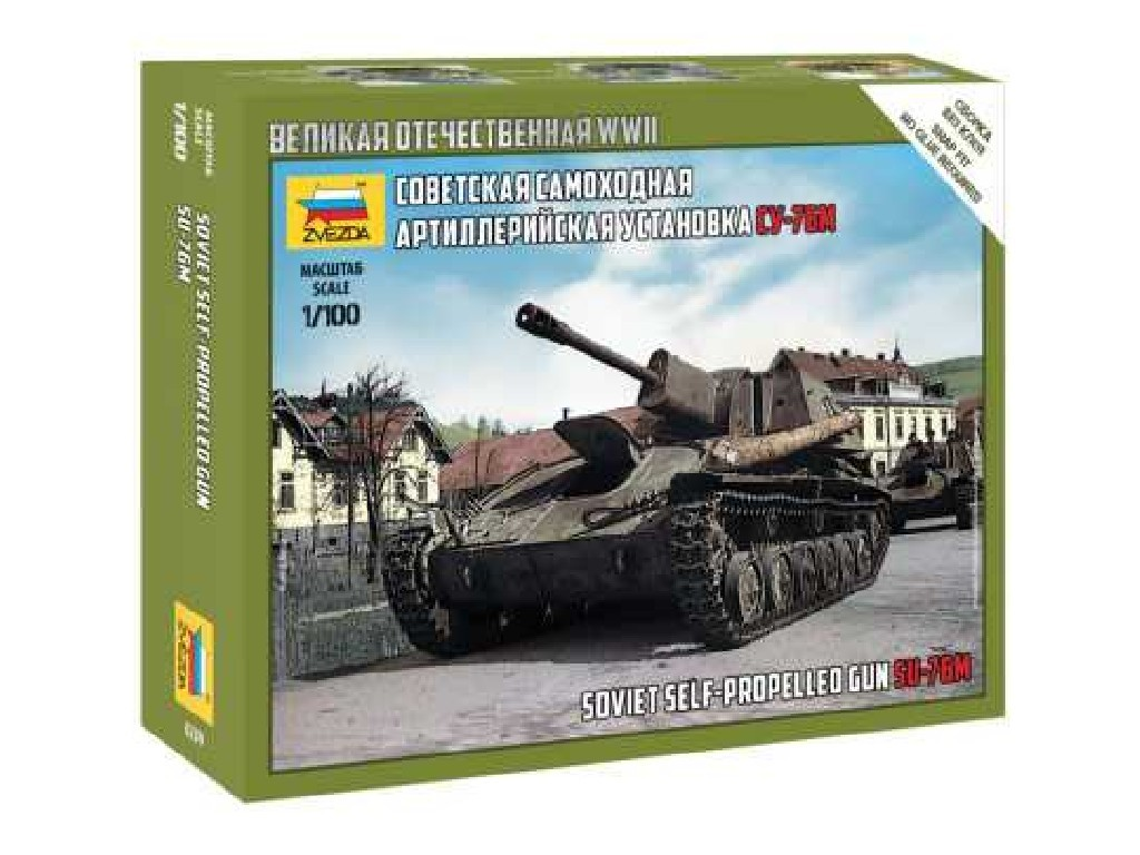 1/100 Plastikový model - tank 6239 - SU-76M Soviet S.P.Gun
