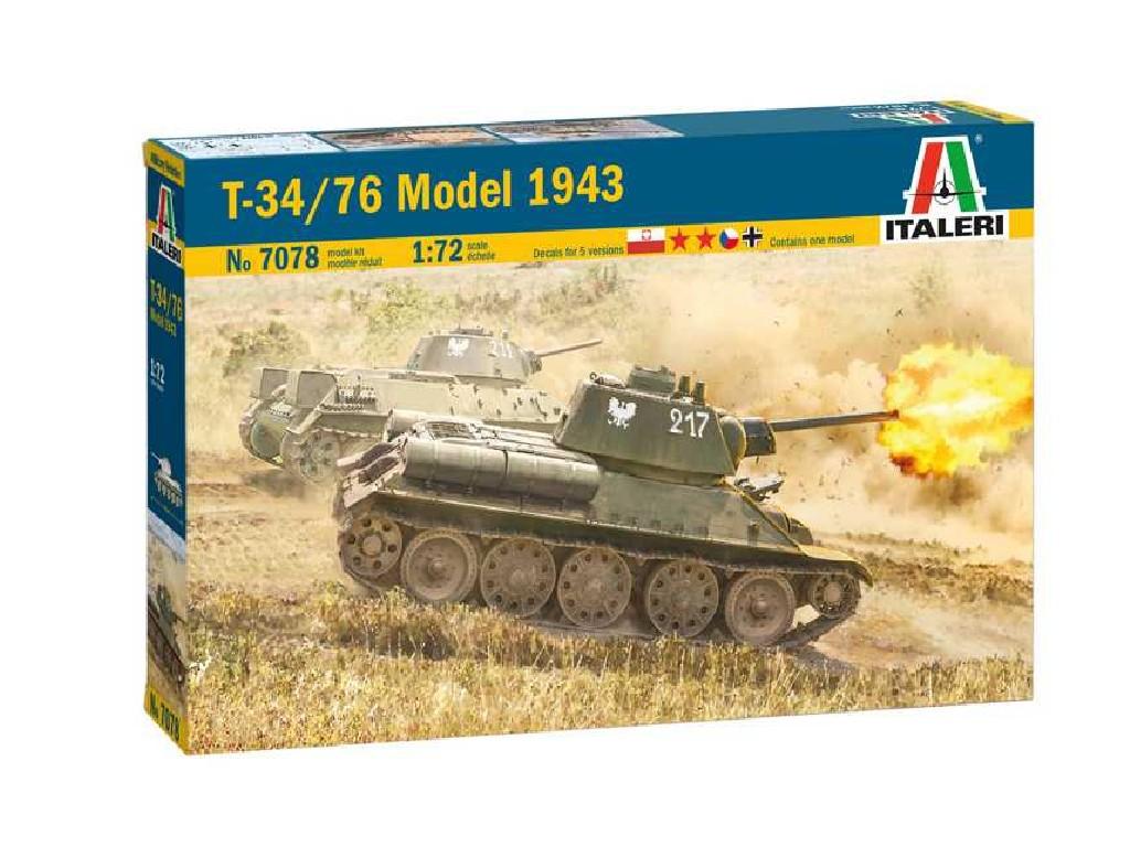 1/72 Plastikový model - tank 7078 - T-34/76 Model 1943