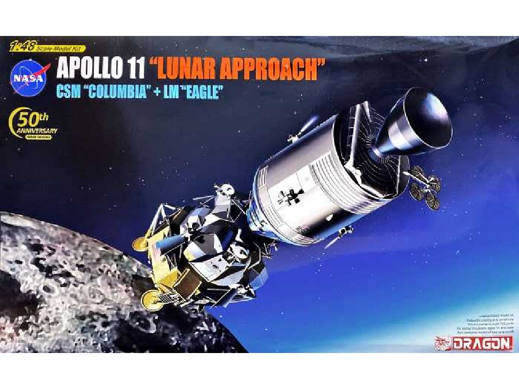 1/48 Plastikový model - vesmír 11009 - Apollo 11 Lunar Approach CSM Columbia + LM Eagle