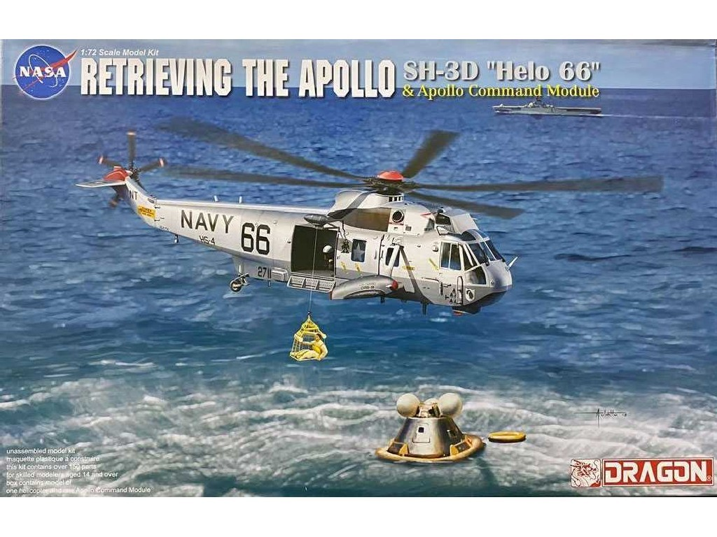 Dragon - vrtulník 11026 - Apollo Recovery SH-3D Helo 66 and Apollo Command Module 1:72