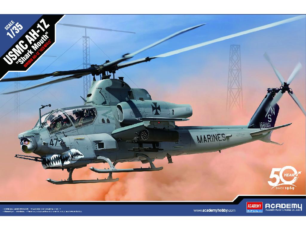 1/35 Plastikový model - vrtulník 12127 - USMC AH-1Z Shark Mouth