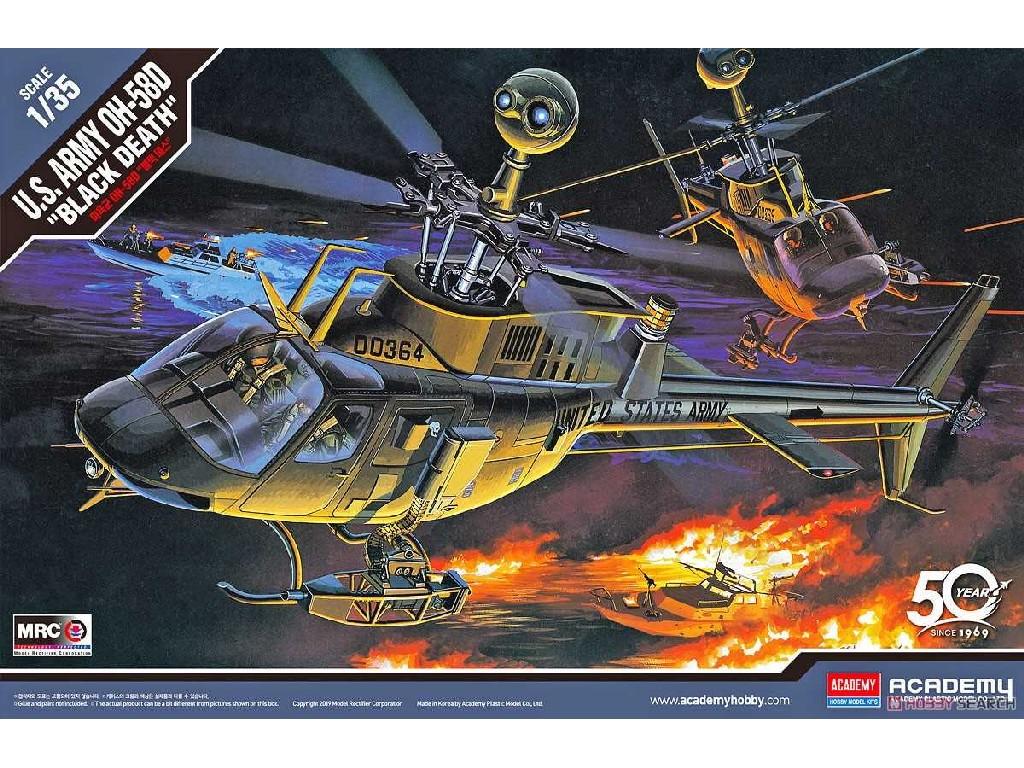 1/35 Plastikový model - vrtuľník 12131 - U.S ARMY OH-58D BLACK DEATH