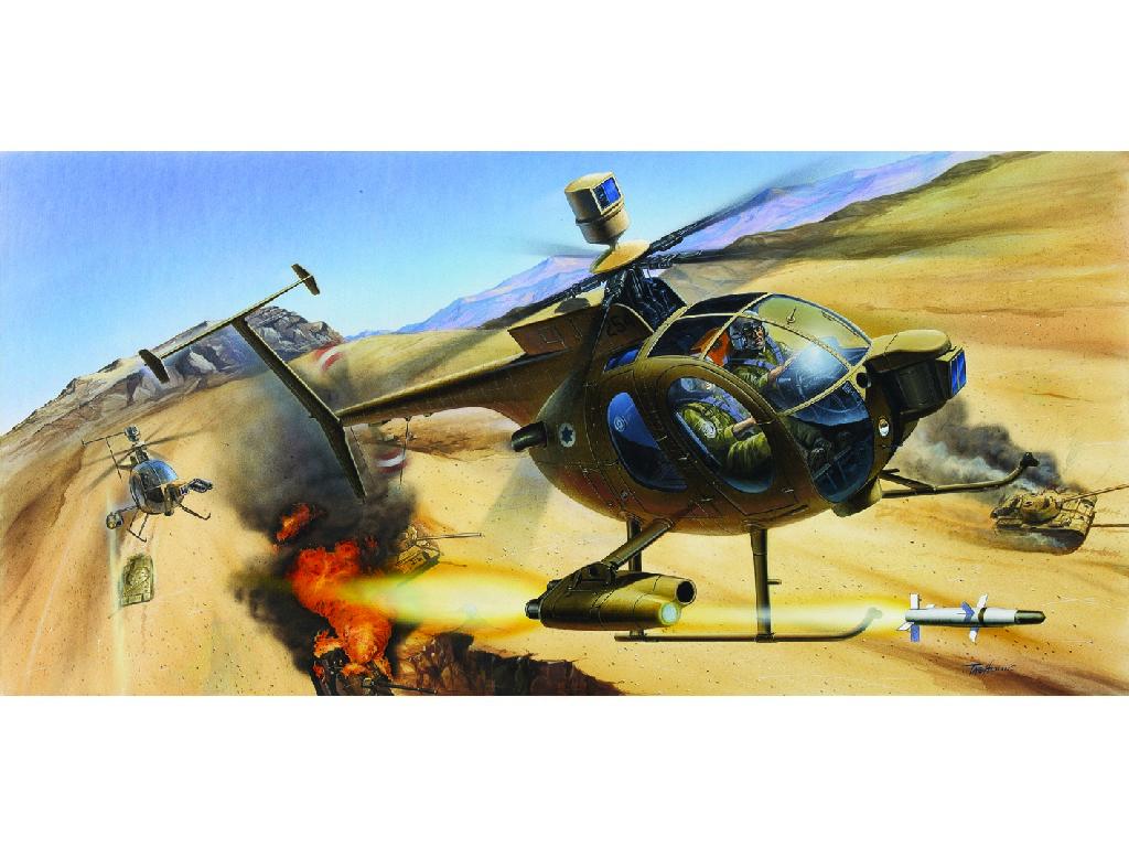 1/48 Plastikový model - vrtuľník 12250 - HUGHES 500D TOW HELICOPTER
