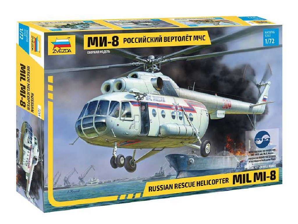 1/72 Model Kit vrtulník 7254 - MIL Mi-8 Rescue Helicopter