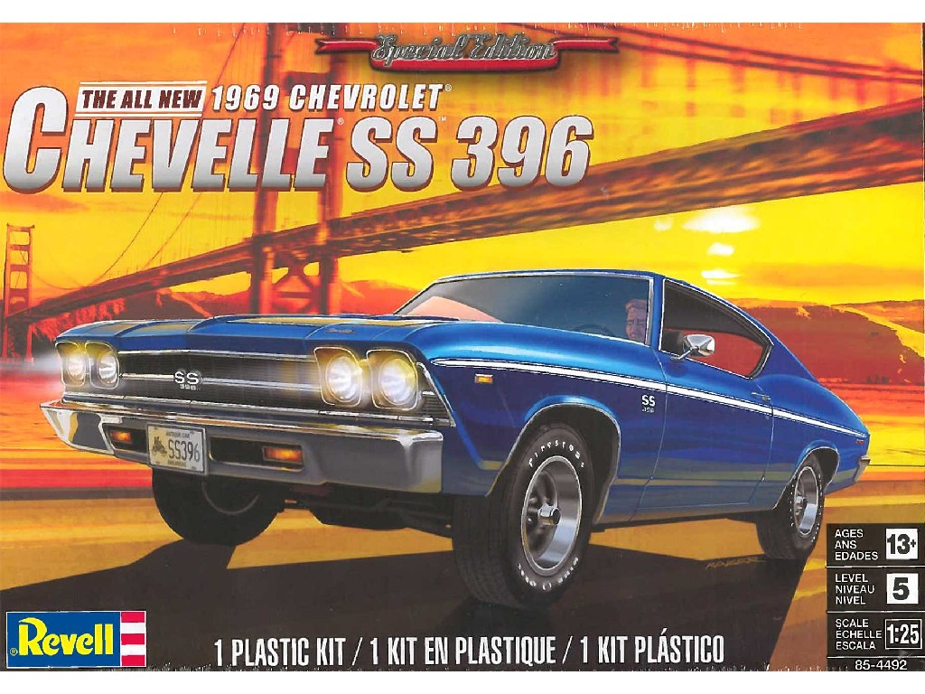1/25 Plastikový model - MONOGRAM auto 4492 - 69 Chevelle® SS™ 396
