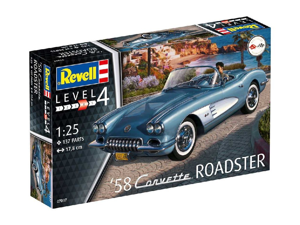1/25 Plastikový model - auto 07037 - 58 Corvette Roadster