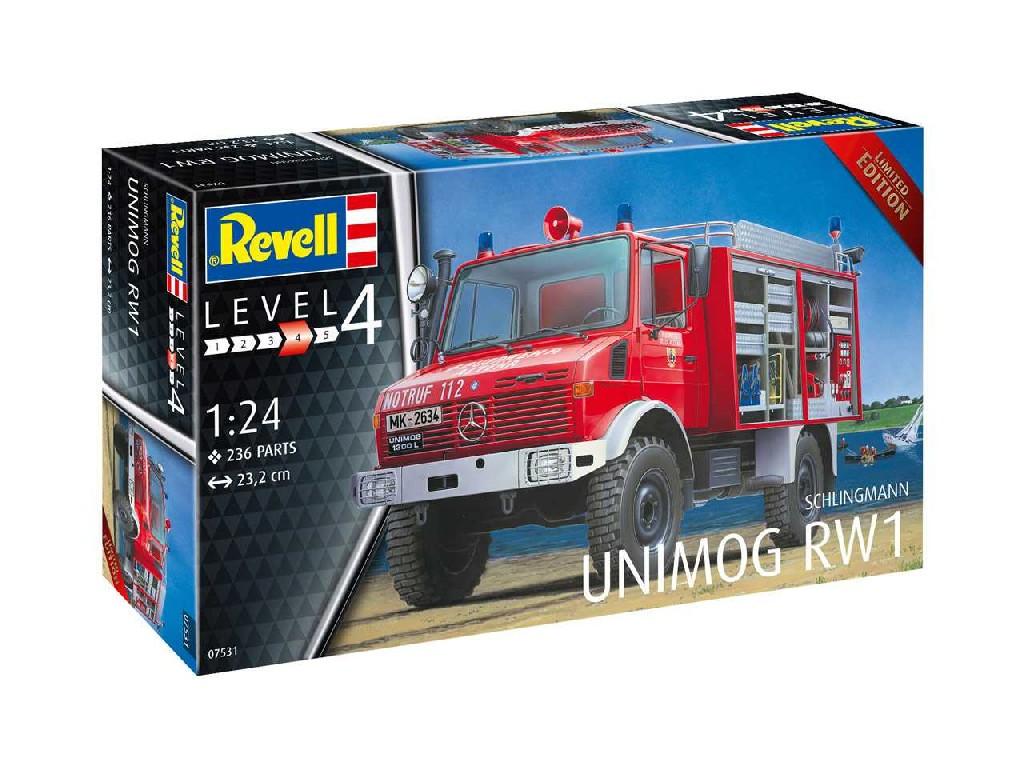 1/24 Plastikový model - auto 07531 - Schlingmann Unimog RW1