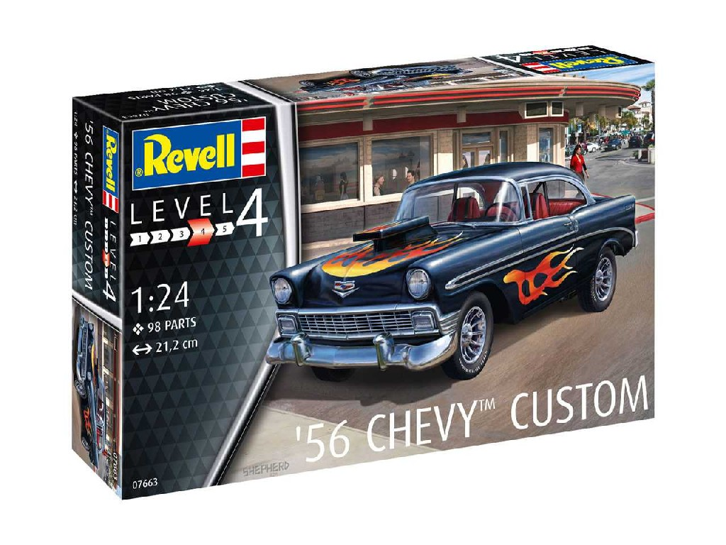 1/24 Plastikový model - auto 07663 - 56 Chevy Customs