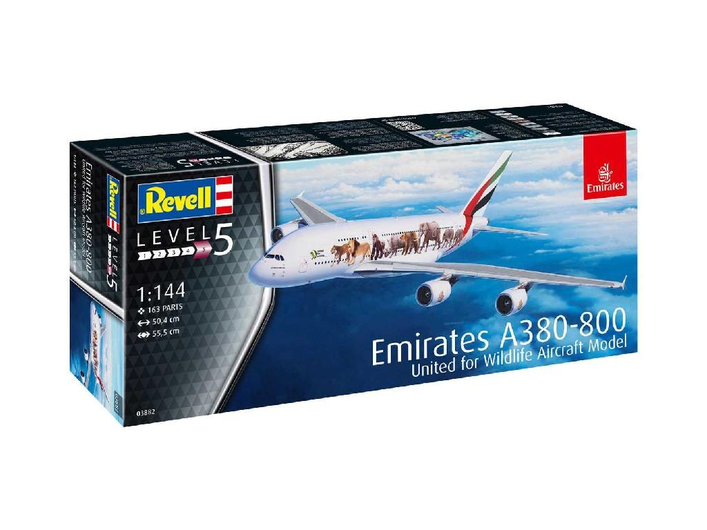 1/144 Plastikový model - letadlo 03882 - Airbus A380-800 Emirates Wild Life