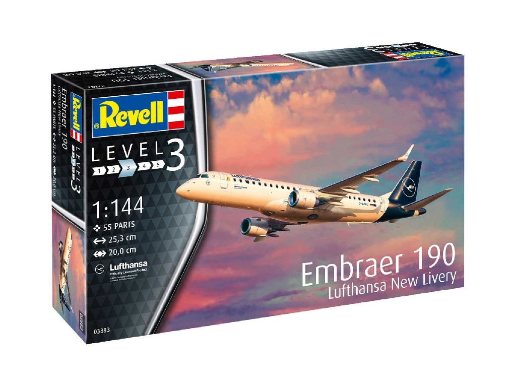1/144 Plastikový model - letadlo 03883 - Embraer 190 Lufthansa New Livery