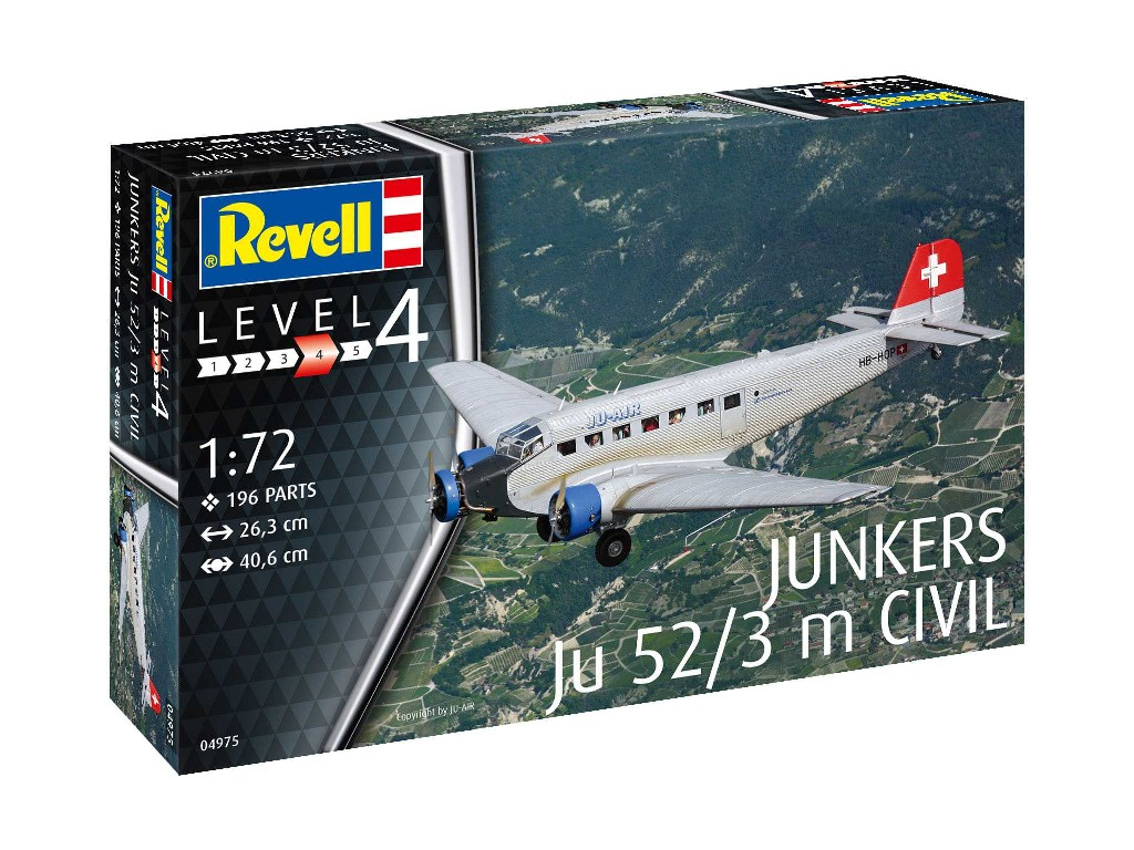 1/72 Plastikový model - letadlo 04975 - Junkers Ju52/3m Civil