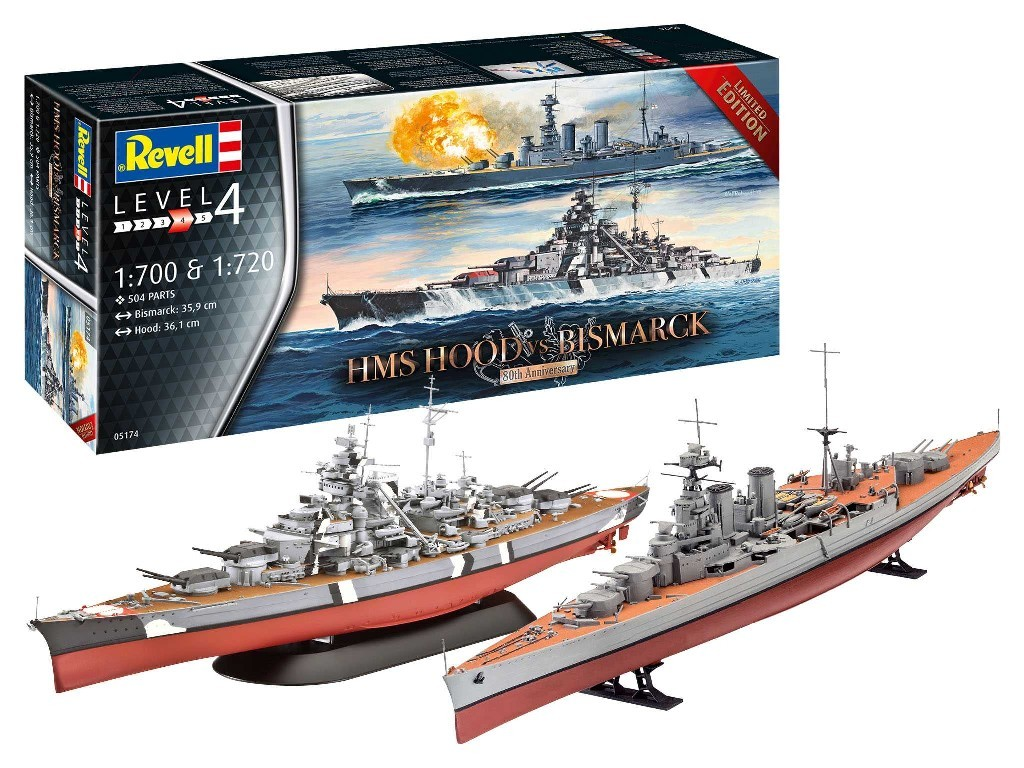Revell - lodě Limited Edition 05174 - Battle Set HMS HOOD vs. BISMARCK - 80th Anniversary 1:700