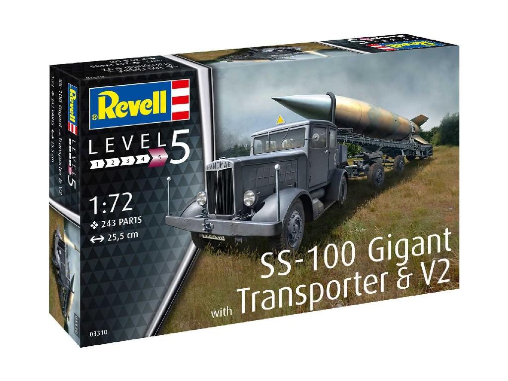 1/72 Plastikový model - military 03310 - SS-100 Gigant + Transporter + V2