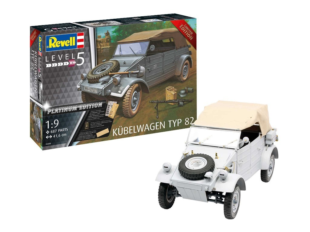 Revell - military Limited Edition 03500 - Kübelwagen Typ 82 Platinum Edition 1:9