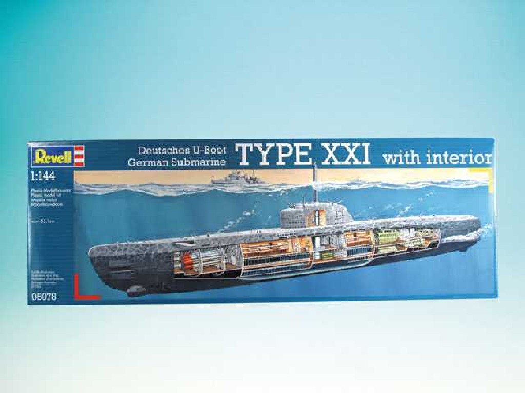 1/144 Plastikový model - ponorka 05078 - Deutsches U-Boot Typ XXI mit Interieur