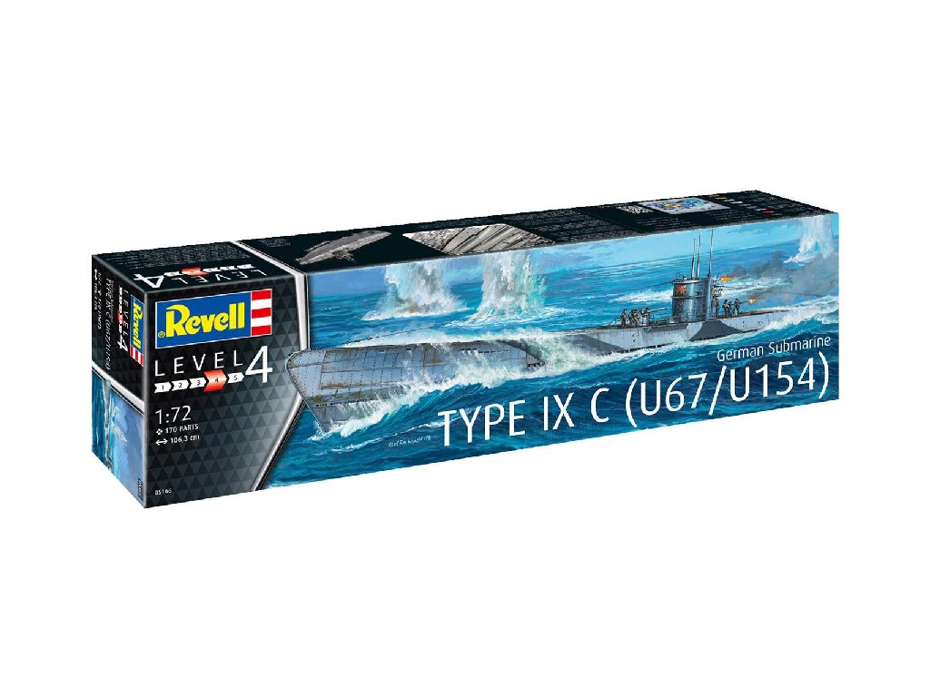 1/72 Plastikový model - ponorka 05166 - German Submarine Type IXC U67/U154