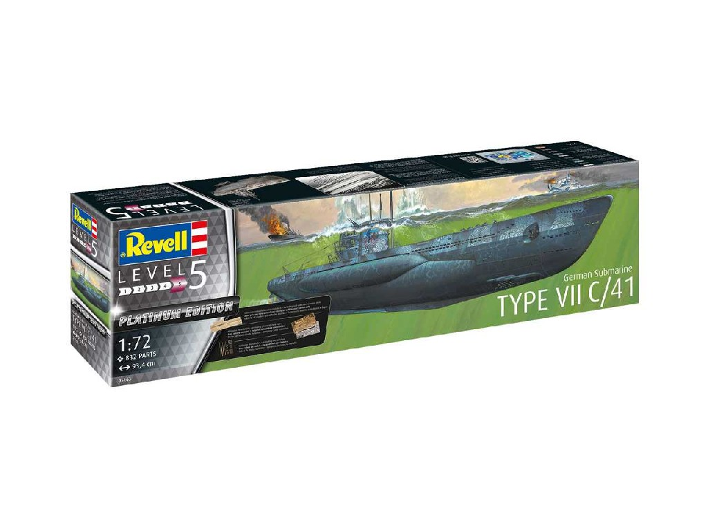 1/72 Plastikový model - ponorka Limited Edition 05163 - German Submarine Type VII C/41 (Platinum Edition)