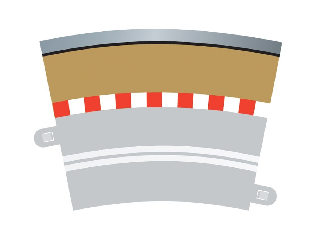 Příslušenství SCALEXTRIC C7019 - Border, Kerb & Barrier - Curve - R3.5 - 22.5 Deg Outer