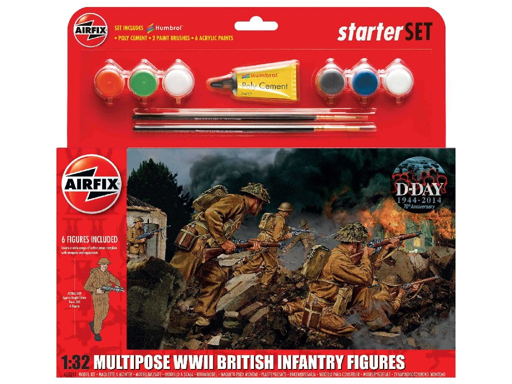 1/32 Plastikový model Set - figurky A55211 - WWII British Infantry Multipose