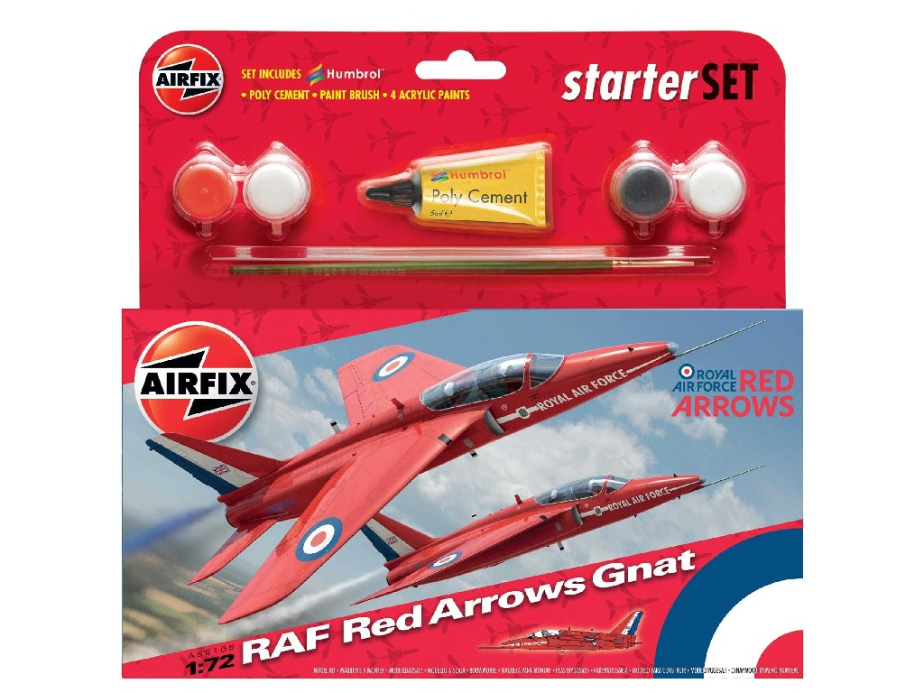 1/72 Plastikový model Set - letadlo A55105 - Red Arrows Gnat