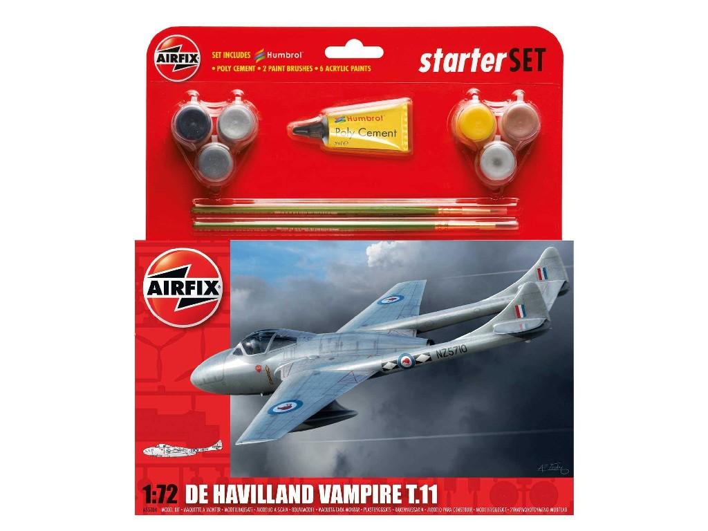 1/72 Plastikový model Set - letadlo A55204 - De Havilland Vampire T11