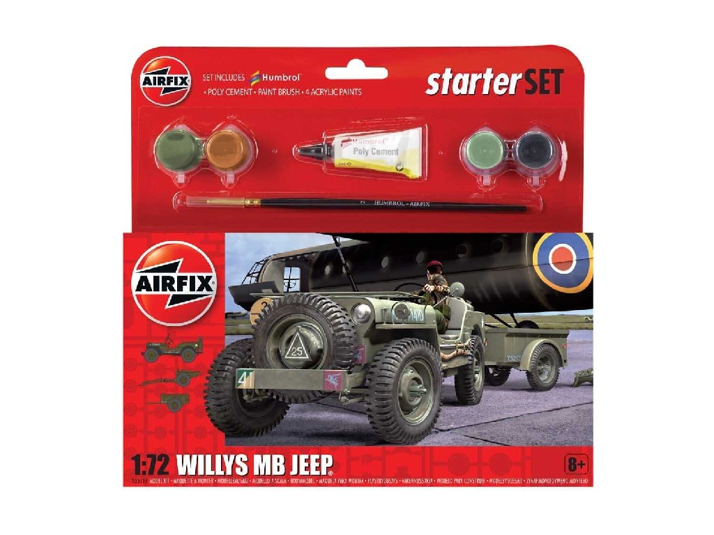 1/72 Plastikový model Set - military A55117 - Willys MB Jeep