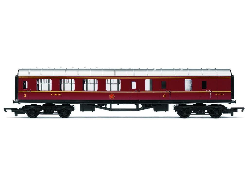 Vagón osobní Hornby Railroad R4389 - LMS Brake Coach - LMS Maroon