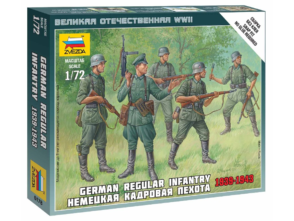 1/72 Wargames (WWII) figurky 6178 - German Regular Infantry 1939-43