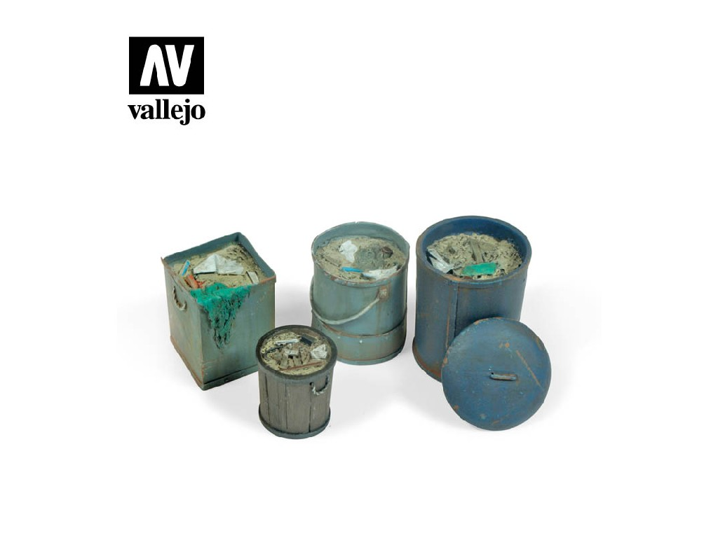 Vallejo - Scenics SC213 Sada různých typů popelnic 2 1/35