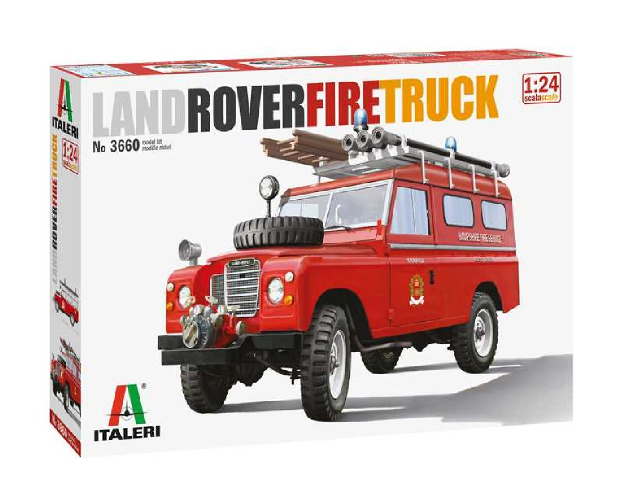 1/24 Plastikový model - auto 3660 - Land Rover Fire Truck