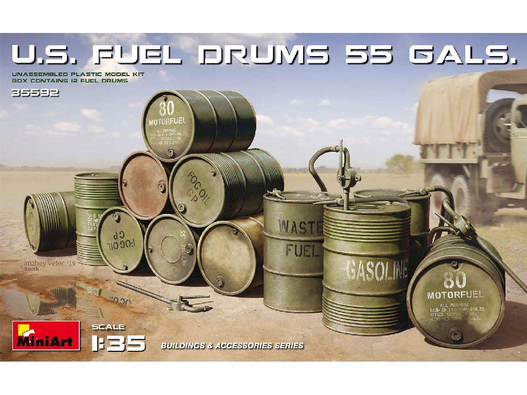 1/35 U.S. Fuel Drums 55 Gals. (12 pcs.)