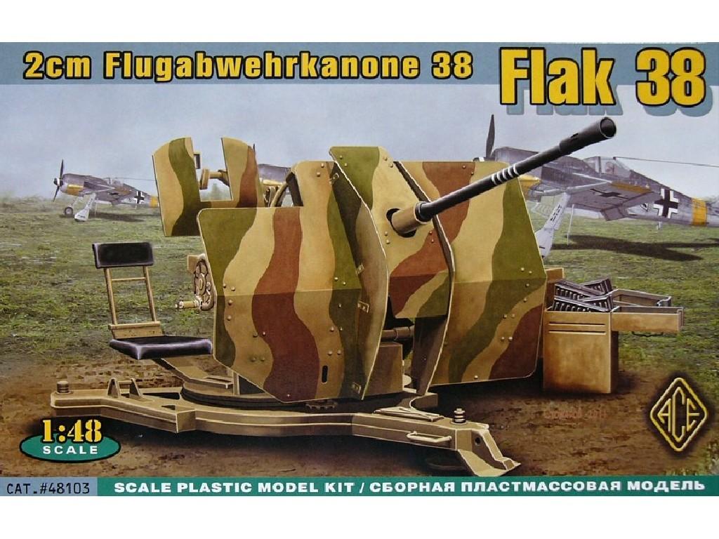 1/48 Plastikový model - 2cm Flugabwehrkanone 38 Flak 38