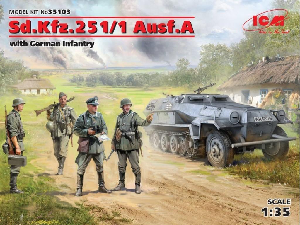 1/35 Plastikový model - Sd.Kfz.251/1 Ausf.A with German Infantry